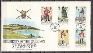 Alderney. Scott cat. 23-27. Military Uniforms issue. First day cover