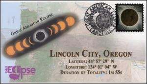 17-245, 2017, Total Solar Eclipse, Lincoln City OR, Event Cover, Pictorial Cance