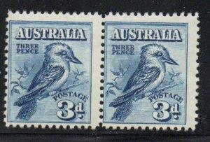 Australia Sc95 1928 3d Kookaburra stamp pair mint