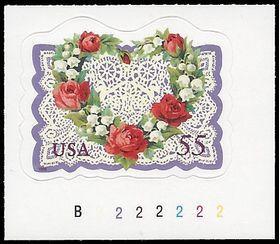 #3275 55c Love Heart & Flowers P# 1999 Mint NH
