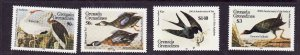 Grenada Grenadines-Sc#637-40-unused NH set-Birds-Audubon-1985-