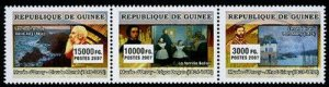 HERRICKSTAMP NEW ISSUES GUINEA Museum of Orsay Strip of 3 Different