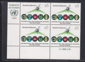 United Nations - Vienna # 27, Inscription Blocks of Four, NH, 1/3 Cat.