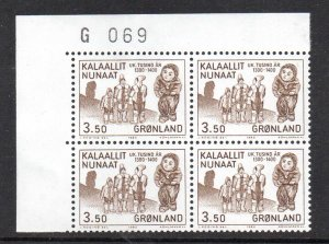 Greenland Sc 151 1983 3.5 kr Mummy stamp corner number block of 4 mint NH