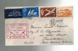 1948 St Pierre Miquelon First FLight airmail cover FFC to Charlottetown Canada 9