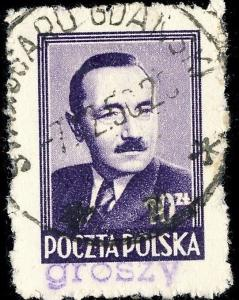 POLOGNE / POLAND 1950 GROSZY O/P T.2 (G.1a violet) Mi625 used STAROGARD GDANSKI