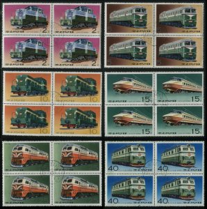 KOREA Trains 6 Blocks of 4 Cinderella Stamps Transportation Steam Locomotives