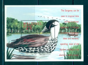 Birds - Maldive Is. - Sc# 2040. 1995 Ducks MNH Souv. Sheet. $5.50.