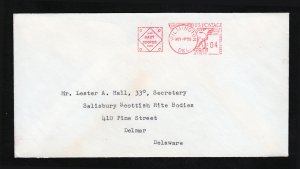 US COVER RED METERED 4C PITNEY-BOWES ⭐ MASONIC ADDRESS ⭐ WILMINGTON DE 1959