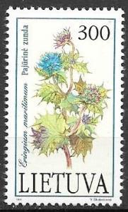 Lithuania 1992 300k flower Eringium maritimum, Mint Never Hinged, Scott #426