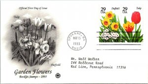 Garden Flowers Tulip & Daffodil s First Day Cover 1993 cachet
