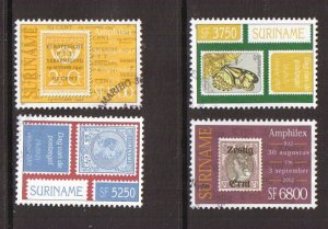 Surinam  #1262a-b and 1263a -b  used   2001  stamp day