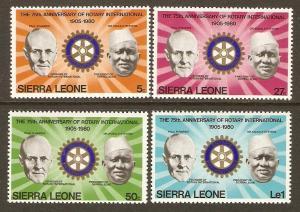 Sierra Leone #477-80 NH Rotary Int'l 75th Anniv.