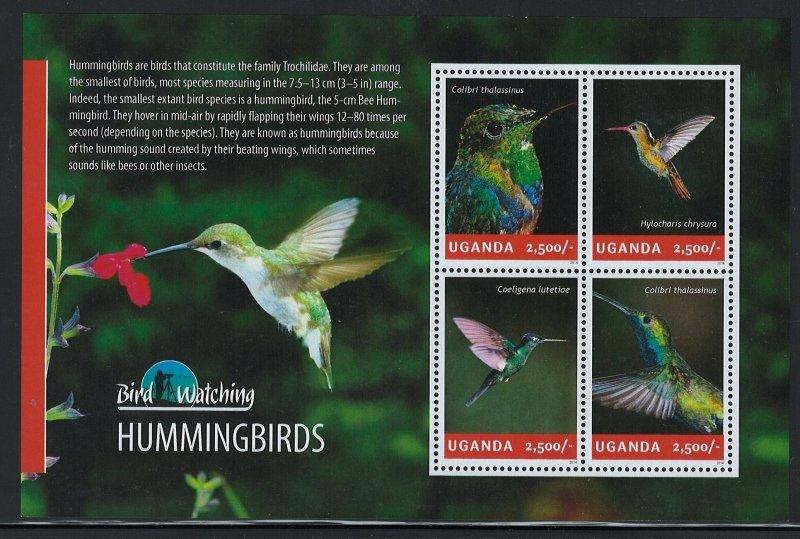 Uganda Scott 2129 MNH! Hummingbirds! Sheet of 4!