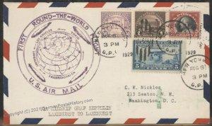 USA 1929 Graf Zeppelin 1st Round-the-World Flown Cover Lakehurst-Lakehurs 105867