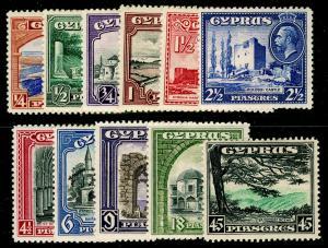 CYPRUS SG133-143, 1938 ¼pi to 45pi COMPLETE SET, M MINT. Cat £200.