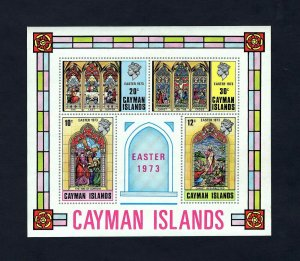 CAYMAN IS - 1973 - QE II - EASTER - STAINED GLASS - CRUCIFIXION + MINT MNH S/S!