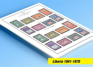 COLOR PRINTED LIBERIA 1941-1970 STAMP ALBUM PAGES (82 illustrated pages)
