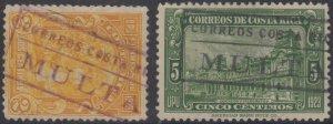 COSTA RICA 1923-26 DUE CANCELS Sc 118 & 121 CORREOS DE COSTA RICA MULTA PTMKS