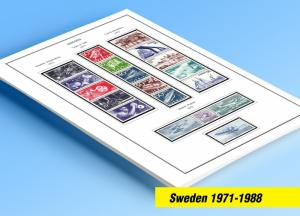 COLOR PRINTED SWEDEN 1971-1988 STAMP ALBUM PAGES (62 illustrated pages)