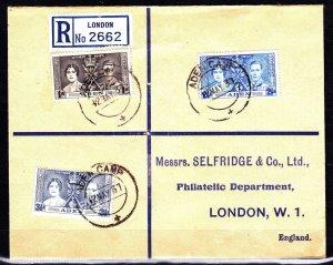 RARE ADEN 1937 REGISTERED COVER SENT TO MICHAEL SAHAR, SELFRIDGE DEPARTMENTAL ST