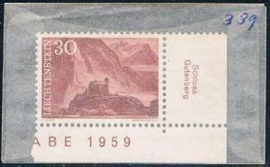 Liechtenstein 339 Unused Gutenberg Castle 1959 (L0368)