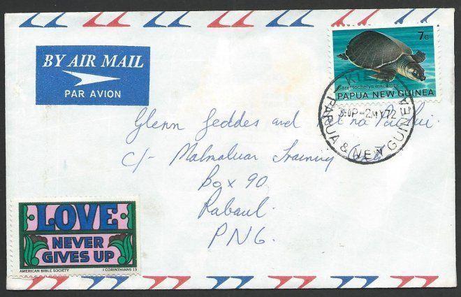 PAPUA NEW GUINEA 1972 7c Turtle local rate cover KIETA to Rabaul...........49581