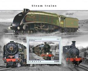 2020/10- LIBERIA - STEAM TRAINS       1V    MNH **