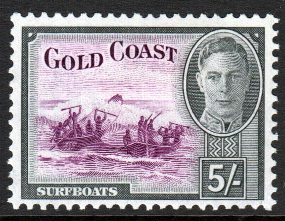 Gold Coast KGVI 1948 5s 5/- Purple Black SG145 Mint Hinged