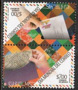 MEXICO 3148a, WORLD POST DAY & UPU ANNIV. SE-TENANT PAIR. MINT, NH. VF.