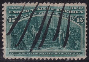 US STAMP #238 – 1893 15c Columbian Commemorative Announcing used thin hole