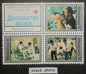 Macedonia RA32-35. 1993 Red Cross Week, se-tenant block, NH