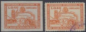 HONDURAS 1947 ARCHEOLOGY Sc C166 IMPERF PROOF ON UNGUMMED PAPER & REGULAR USED