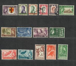 Sarawak Sc#197-211 M+U/H/VF, Complete Set, 197 Thin, Cv. $36.75