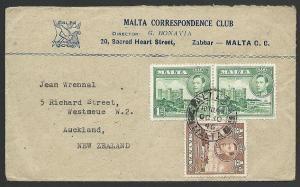MALTA 1946 cover Valetta to New Zealand....................................47422