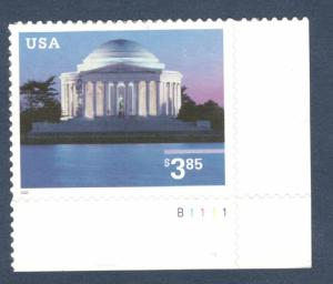 3647 Jefferson Memorial Priority Mail Single W/Plate Number Mint/nh Ships Free