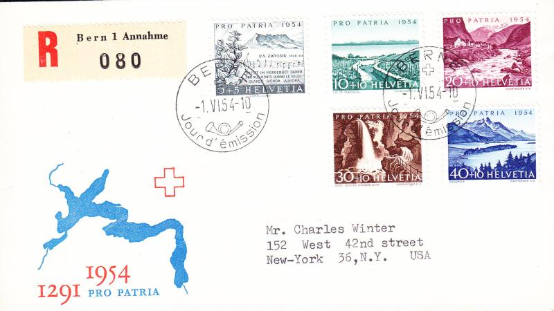 Switzerland 1954 Pro-Patria issue REGISTERED First Day Cover