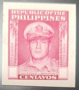 O) 1948 PHILIPPINES, DIE PROOF, NO FACIAL VALUE,GENERAL DOUGLAS MACARTHUR SCT 52