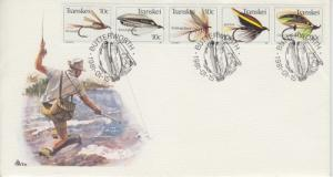 1981 Transkei Fishing Flies Strip of 5 (Scott 70) FDC