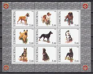 Udmurtia, 1998 Russian Local. Various Dogs sheet of 9. Scout logo.