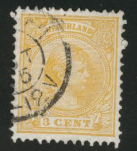 Netherlands Scott 40a nice 1892 3c Orange Yellow  CV$2.75