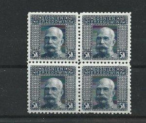 BOSNIA  & HERZEGOVINA 1906  5KR   P 9 1/2  BLOCK OF 4  MNH  CAT £76 NO4