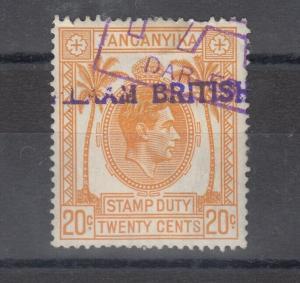 Tanganyika KGVI 1938 20c Duty Fiscal VFU J5472