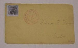 US COVER #114 RED CHARSTOWN MASS 1869
