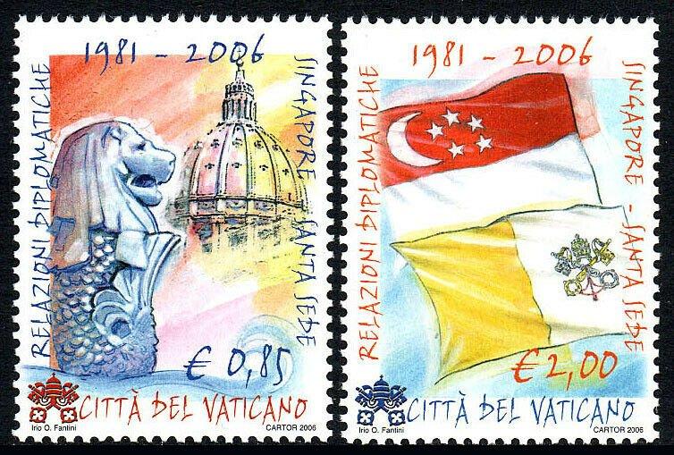 Vatican 1336-1337, MNH.Diplomatic Relation between Vatican City & Singapore,2006
