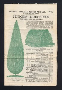 OHIO: Winona 1883 JEKINS' NURSERIES Prices Circular