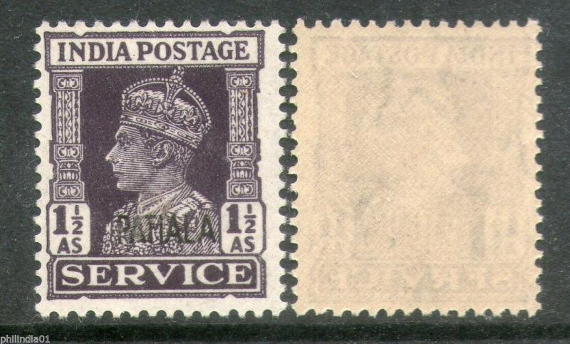 India PATIALA State KG VI 1½As SERVICE SG O77 / Sc O69 £ 8 MNH Stamp