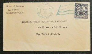 1928 Cover La Ceiba Honduras to New York NY