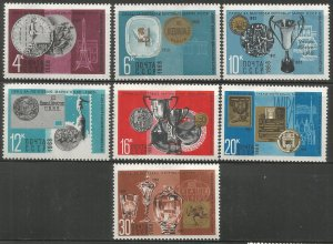 RUSSIA  3534-3540  HINGED,  AWARDS TO SOVIET POST OFFICE AT FOREIGN STAMP EXHIB.