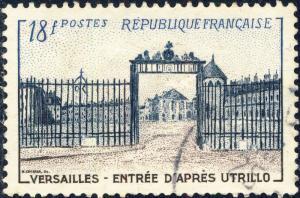 FRANCE - 1954 - Yv.988/Mi.1014 18fr Grille de Versailles (Utrillo) - Oblitéré TB